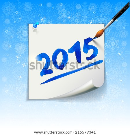 2015 Happy New Year hand lettering  on blue background with snowflakes. - stock photo