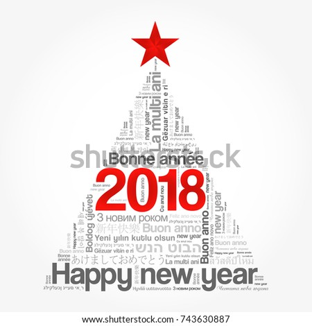 2018 Happy New Year Different Languages Stock Illustration 743630887 ...