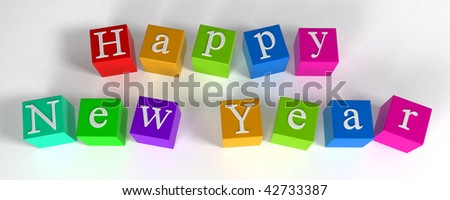 """happy new year"" phrase compiled with a cubes - 3d rendering"