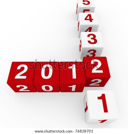 2011 2012 happy new year red 3d cube - stock photo