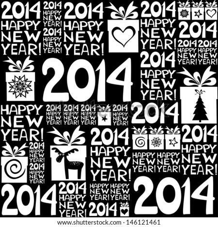 2014 Happy New Year! Seamless black pattern.  illustration