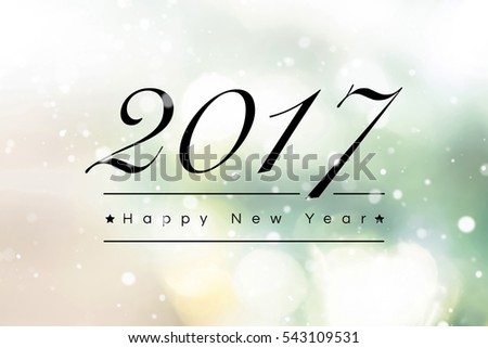 2017 Happy New Year text on abstract bokeh background with snowfall effect