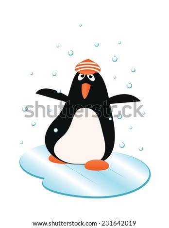 happy penguin in winter on the ice - stock photo