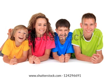 Happy sister with brothers - stock photo