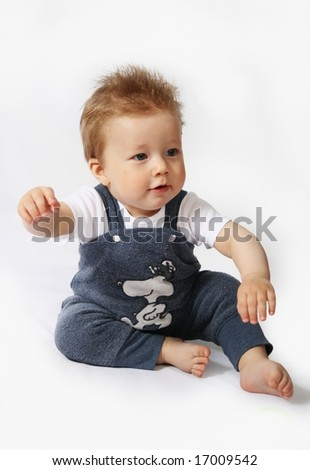 Happy small baby-boy isolated on white