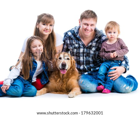 happy smiling familiy with a big dog  isolated on white background - stock photo