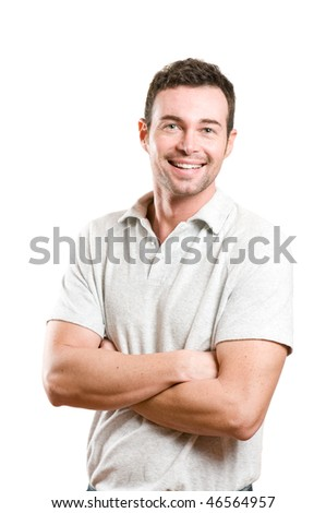 Happy smiling young man looking at camera with joy and confidence, isolated on white background
