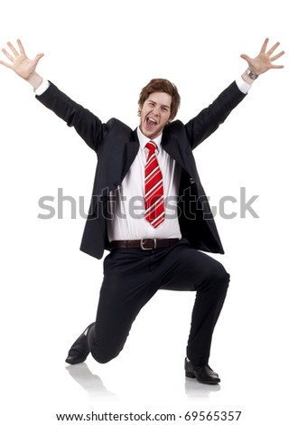 Happy successful business man isolated over white - stock photo