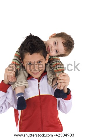 Happy two brothers - stock photo