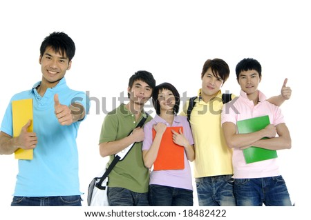 5 happy university students over a white background focus on man in blue - stock photo