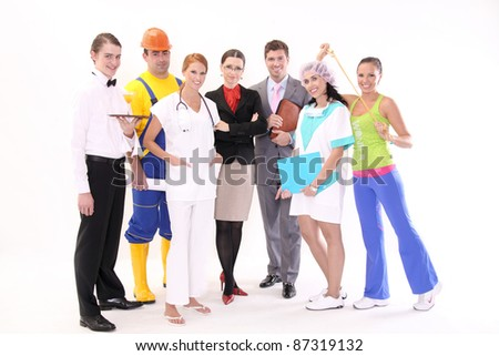 Happy workers of different professions - stock photo