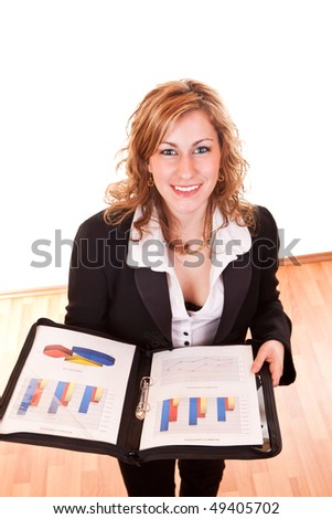 happy young attractive blond businesswoman holding documents and smiling