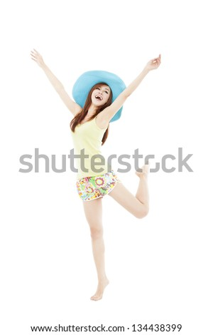 happy young woman dancing in summer during vacation isolated on white - stock photo