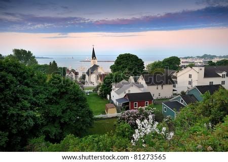 """""""Harbor View Sunrise"""" Mackinac Island , Michigan - stock photo"""