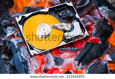 Hard disk drive inside and found virus - stock photo   burning hard disk drive  - stock photo