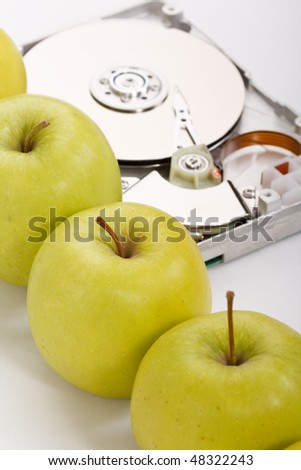 hard disk drive with green apples