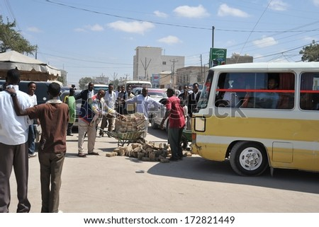 HARGEISA, SOMALIA - JANUARY 14, 2010: Main objective of the Bank of Somaliland is to fight inflation. Automobile accident with the carrier of money.