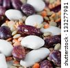haricot bean and dried lentils. selective focus - stock photo