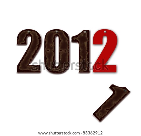 2011 has gone,2012 is arriving.scruffy characters 2011 with rusted screw replaced by new character 2012 - stock photo