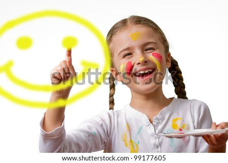 """""""Have A Nice Day"""" Smile Face! , lovely girl painting emoticon - stock photo"""