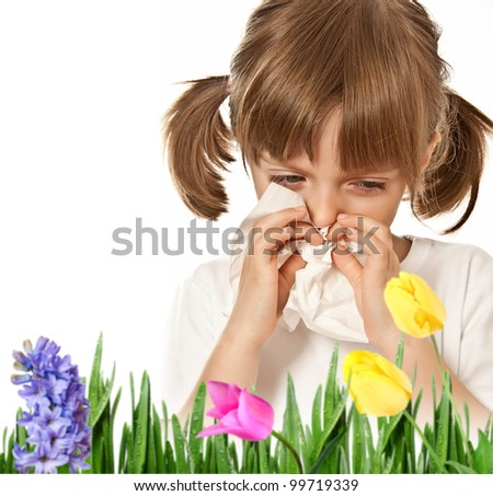 hay fever - allergic child - stock photo