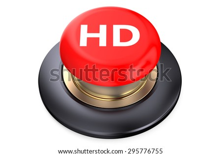 """""""HD"""" red pushbutton isolated on white background - stock photo"""