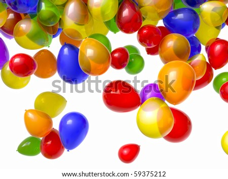 1080 HD video of multi-colored balloons falling from above over a white background. Includes alpha matte! (16:9) - stock photo