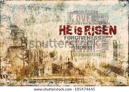 """He Is Risen"" Religious Background  - stock photo"