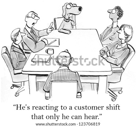 """""""He's reacting to a customer shift that only he can hear."""" - stock photo"""