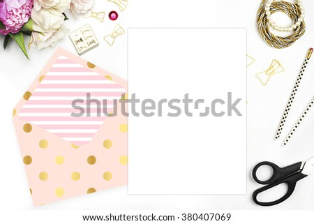 . Header website or Hero website, Table view office items, white background mock up, woman desk. Polka gold pattern and blush stripe  - stock photo