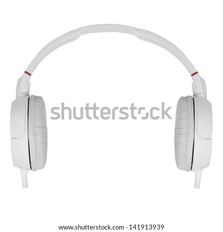 headphones on white background - stock photo