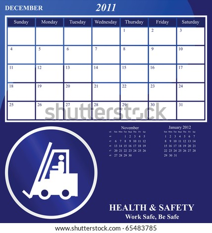 2011 Health and Safety calendar for the month of December - stock photo