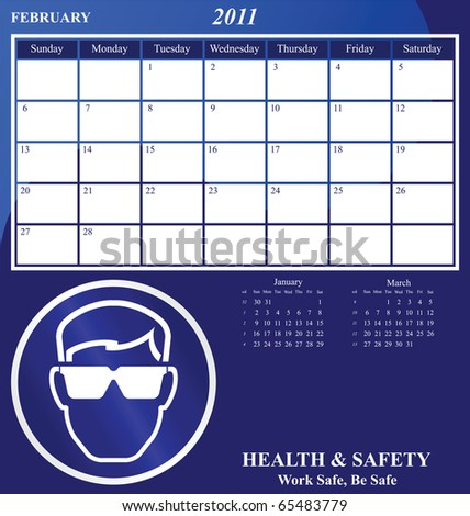 2011 Health and Safety calendar for the month of February - stock photo