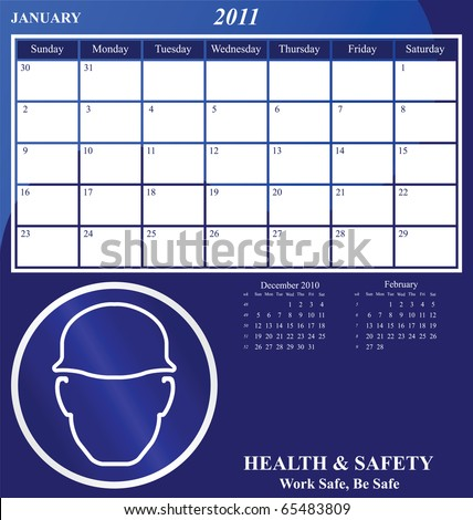 2011 Health and Safety calendar for the month of January - stock photo