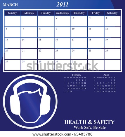 2011 Health and Safety calendar for the month of March - stock photo