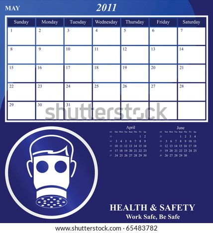 2011 Health and Safety calendar for the month of May - stock photo