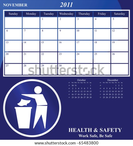 2011 Health and Safety calendar for the month of November - stock photo