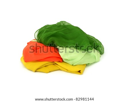 heap of colorful silk isolated on white background