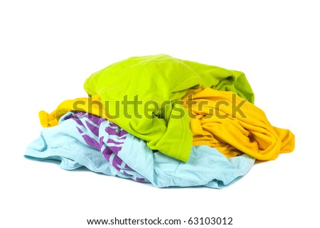 Heap of dirty clothing isolated on white background