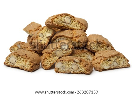 Heap of fresh baked cantuccini on white background - stock photo