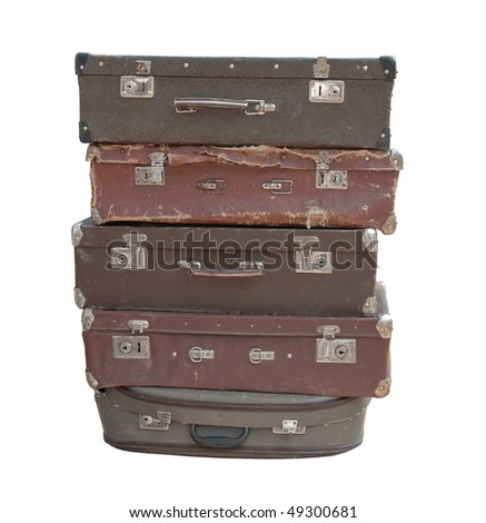 Heap of old suitcases isolated on white - stock photo