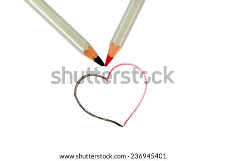heart and pen?il isolated on white background  - stock photo