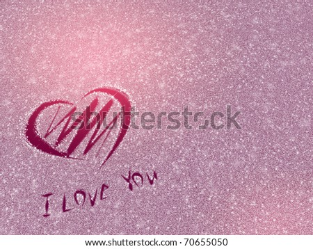 heart on the snow background - stock photo