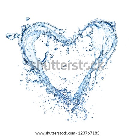Heart symbol made of water splashes, isolated on white backgRound - stock photo
