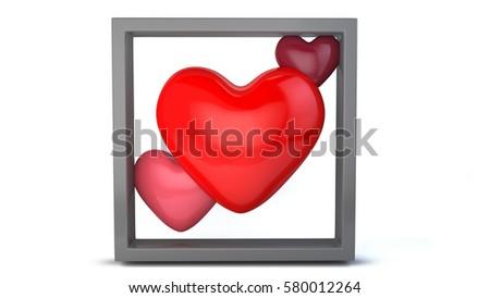 3 Heart Different Color Gray Frame Stock Illustration 580012264 ...