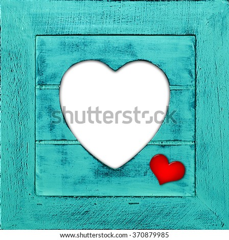 Heart  with frame and copyspace for your text or images and wood background