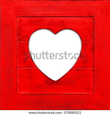 Heart  with frame and copyspace for your text or images and wood background - stock photo