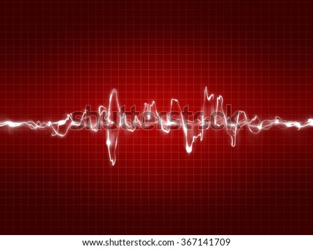 Heartbeat ekg pulse tracing on a red grid background  - stock photo