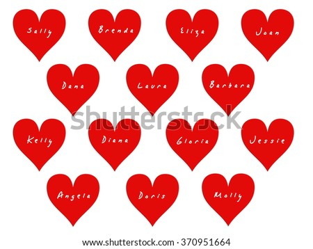 14 hearts with names of women on valentines day white background