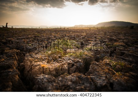 heat from summer be cause cracked soil dry  and make it water disappear. - stock photo
